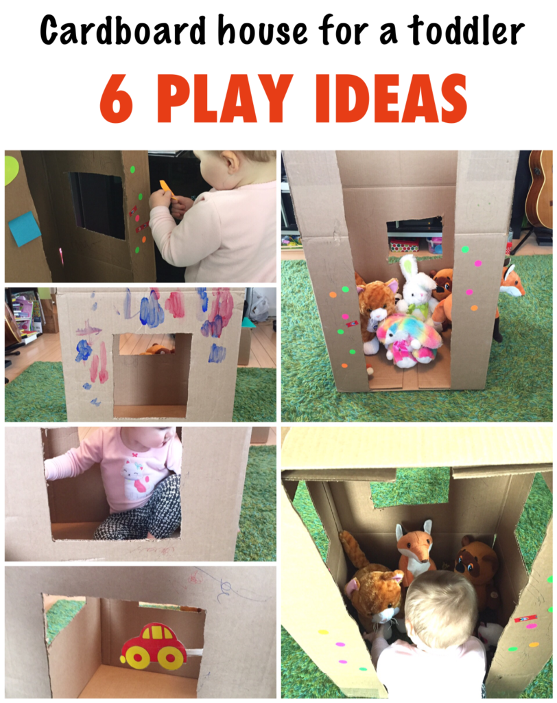 Cardboard house 6 play ideas, activities for one year old, development  promoting activities for