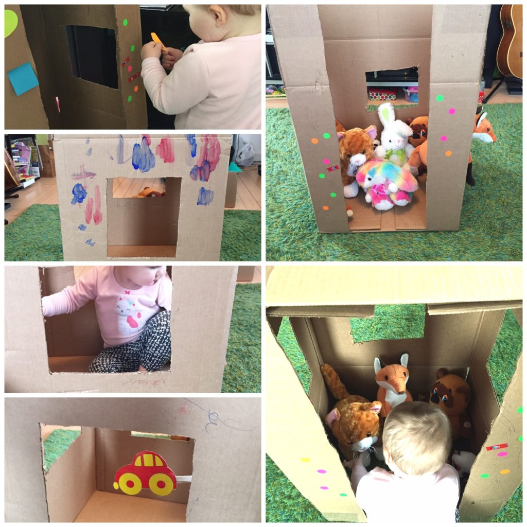 Cardboard house, 20 activities for 12-18 months old, 20 play ideas for toddlers, activities for one year old, montessori activities for a toddler, development promoting activities for toddlers, activities for 13 month old, activities for 14 month old, activities for 15 month old, activities for 16 month old, activities for 17 month old, activities for 18 month old, activities for a toddler, activities for one year olds, activities for two year olds