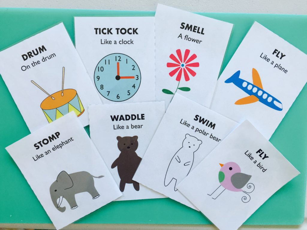 Action cards for toddlers, printable file