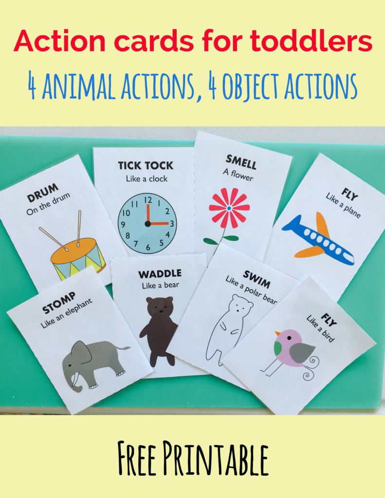 Action cards for toddlers. Free printable. 4 animal actions, 4 ...