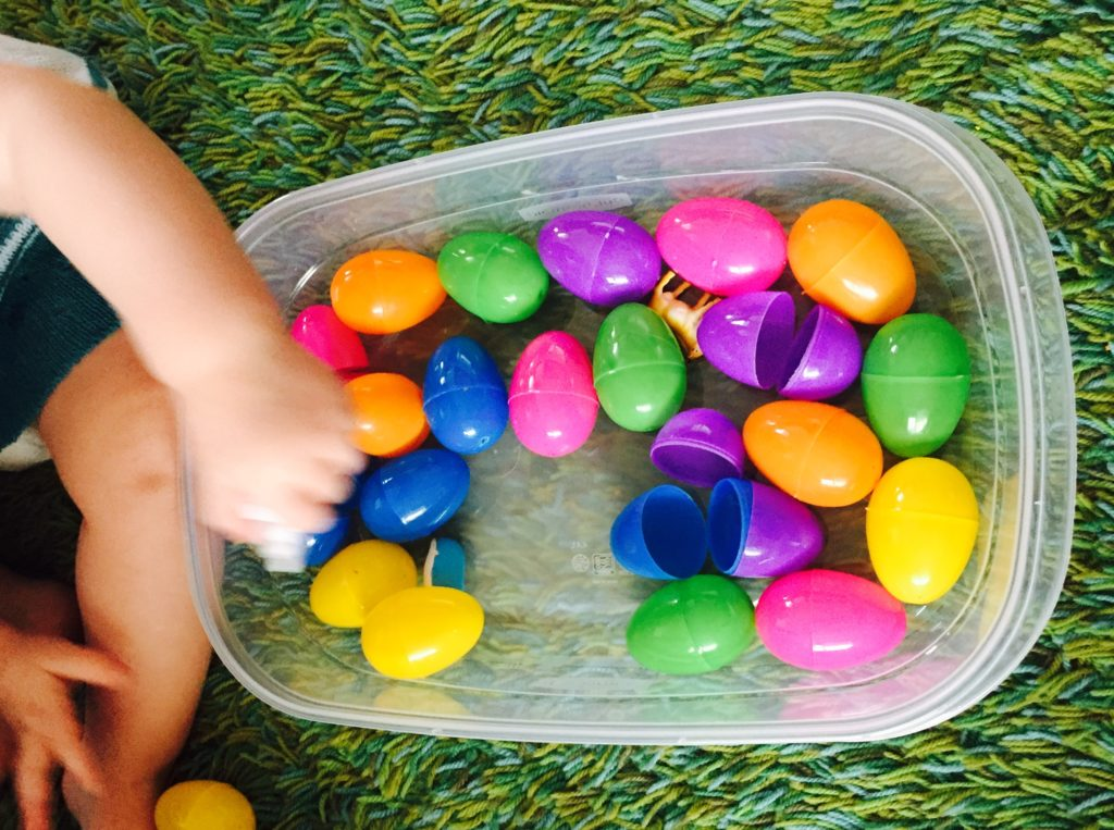 Plastic eggs play, Saturday box of activities for 12-18 month olds, best toys for a toddler, activities for one year old, activities for 13 month old, activities for 14 month old, activities for 15 month old, activities for 16 month old, activities for 17 month old, activities for 18 month old, toddler activities