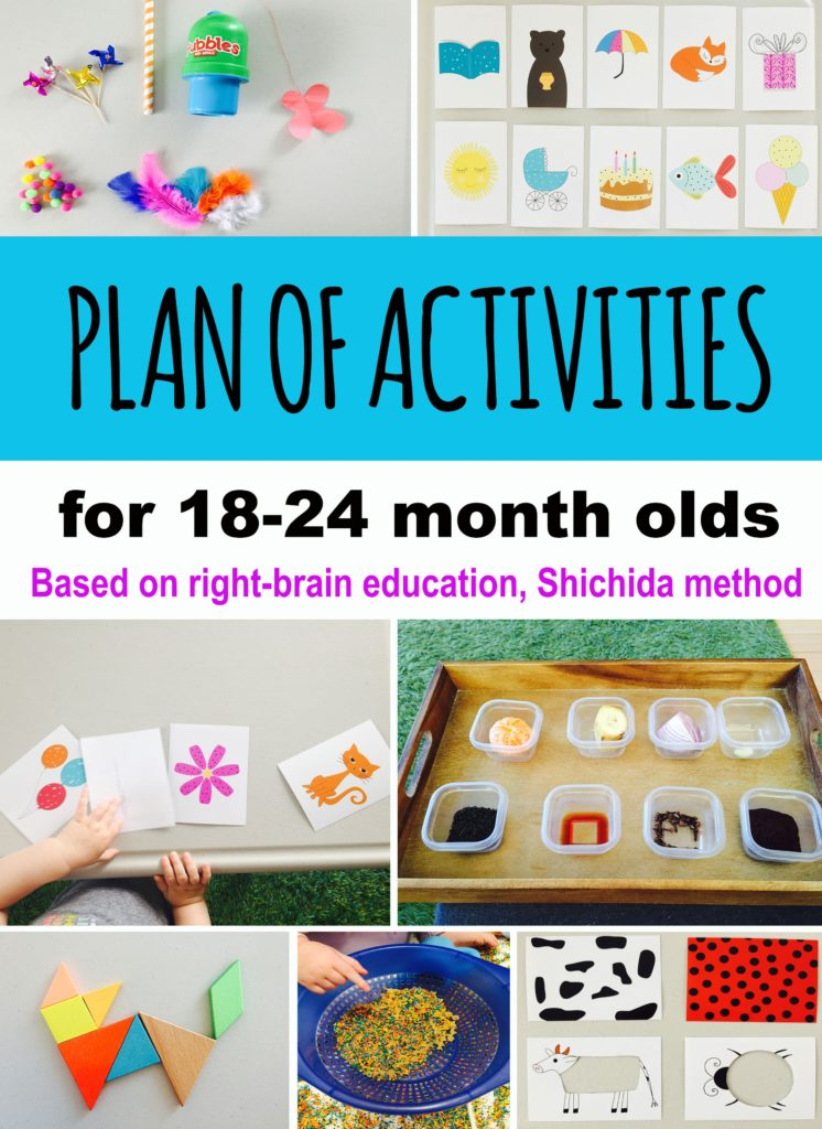 Plan of activities based on Shichida method of right-brain education - development on photographic memory, instant calculations and creative thinking. activities for toddlers, activities for 19 month old, activities for 20 month old, activities for 21 month old, activities for 22 month old, activities for 23 month old, activities for 24 month old, activities for one year old, activities for two year old.