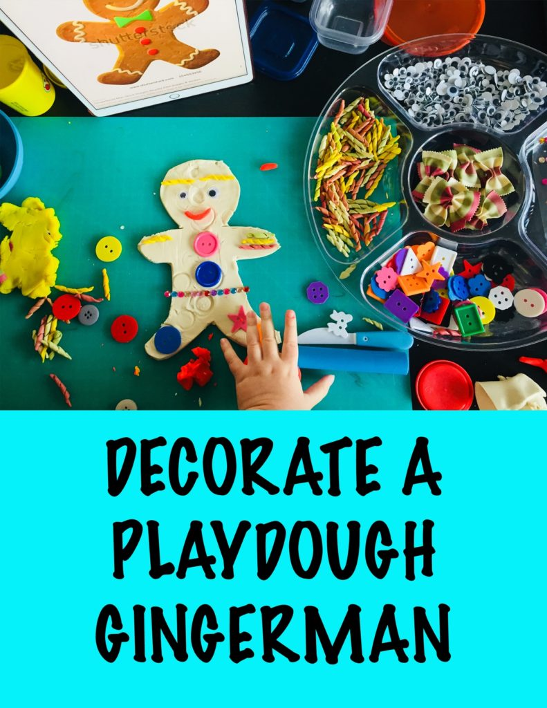 Decorate playdough gingerman with buttons, 24 christmas activities, winter activities, 24 christmas activities for toddlers, winter activities for toddlers, advent calendar activities, christmas activities for 2 year olds, christmas activities for 3 year olds, toddler crafts, toddler christmas crafts, christmas crafts for toddlers, christmas crafts for two year olds, christmas crafts for three year olds