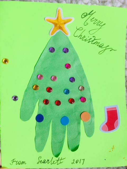 DIY Christmas card, handprint christmas tree, handprint christmas card