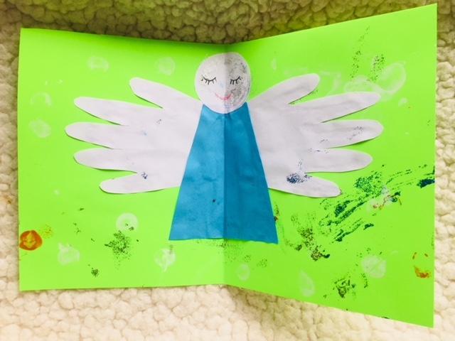DIY Christmas card, handprint angel, handprint christmas card