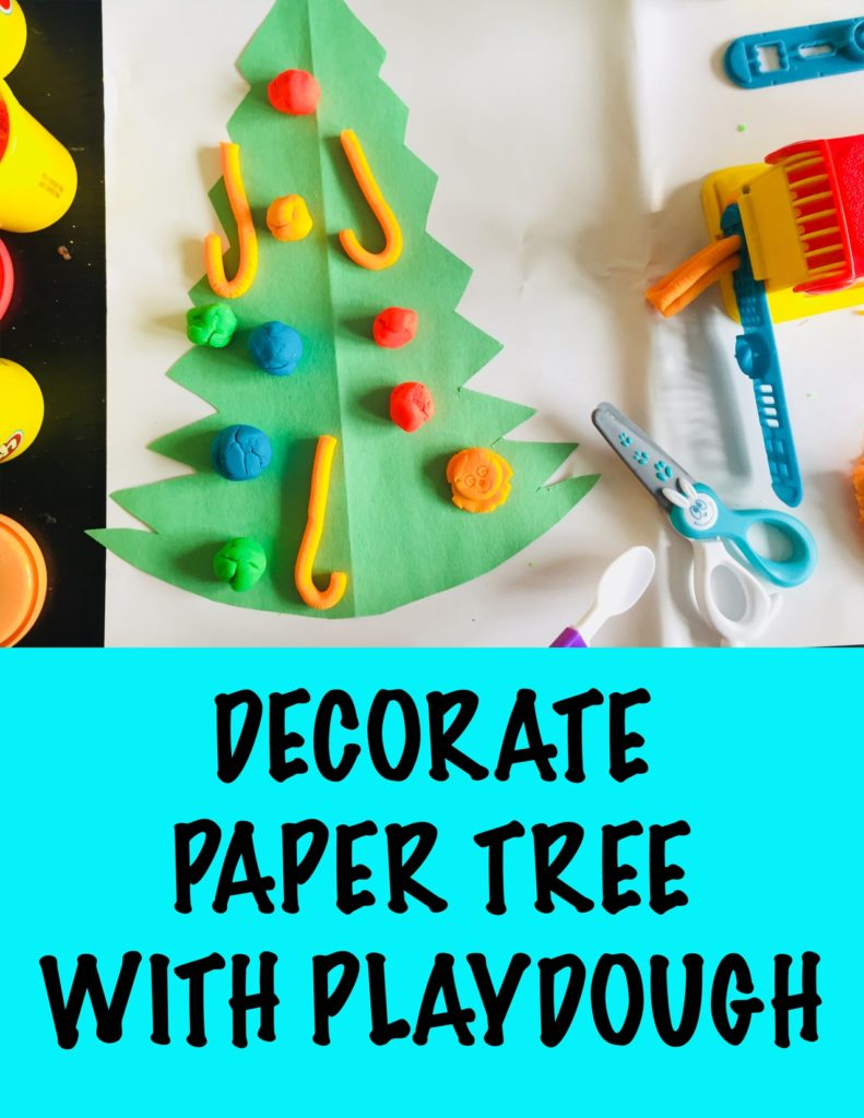 Decorate paper christmas tree with playdough, 24 christmas activities, winter activities, 24 christmas activities for toddlers, winter activities for toddlers, advent calendar activities, christmas activities for 2 year olds, christmas activities for 3 year olds, toddler crafts, toddler christmas crafts, christmas crafts for toddlers, christmas crafts for two year olds, christmas crafts for three year olds